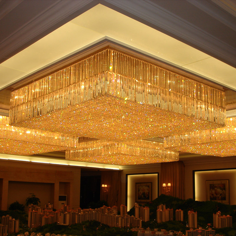 Custom Banquet Hall Chandelier For Low Ceiling Large Flush Mount Chandeliers Showsun Lighting
